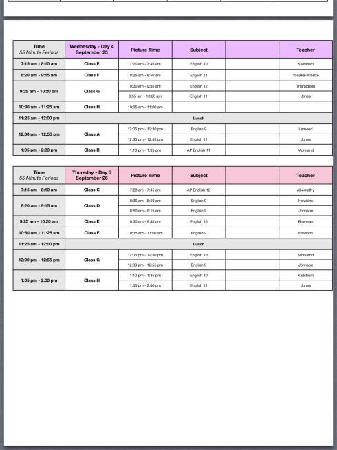 photo schedule 2013 2