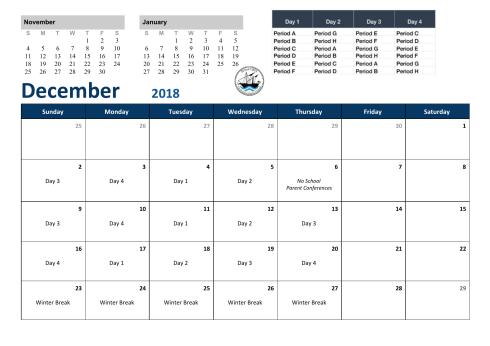 December Rotation Calendar